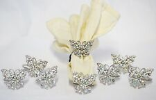8 pc Napkin Rings Hand Crafted Pewter in Butterfly Design with Swarovski Crystas