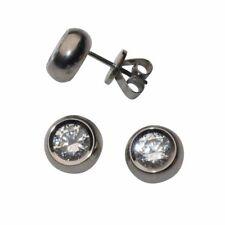 Titan Ohrstecker Rund Ohrringe Poliert Ohrringe mit Zirkonia Damen Ohrringe