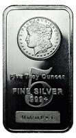 Morgan Dollar Design 5 Troy Oz .999 Fine Silver Bar USA SKU27205