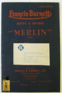 FRANCIS BARNETT Merlin Illustrated Motorcycle Parts List/ Handbook c1950