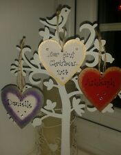 Personalised Wooden Hanging Tree Heart Bauble Decoration Christmas Xmas Gift