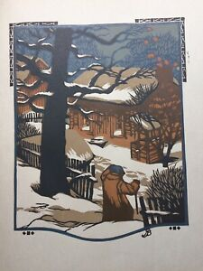 Vintage 1912 original colour woodblock print, January, by Gustave Baumann