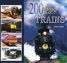 Bhutan 2005 MNH 200 Years of Trains 1804-2004 Amtrack 4v M/S Railways Stamps
