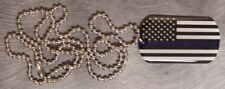 "Engraveable Necklace Police Fire Rescue Blue Lives Matter 22"" chain NEW"