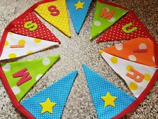 PERSONALISED BUNTING- BRIGHT COLOUR MIX -  ANY NAME- £1 PER FLAG , FREE P&P