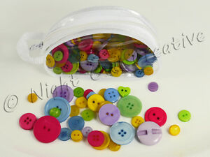 Colourful Buttons - Zip Bag, Assorted, Scrapping, Collage, Cards, Crafts, Sewing