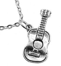 Acoustic Guitar Necklace Chain Pendant Musical Instrument Strings Music 3FOR2 UK