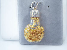 RARE FLOATING 24K GOLD FLAKES BOTTLE PENDANT