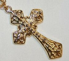 Goldtone Filigreed Beaded Cross Religious Necklace  ++++