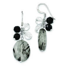 .925 Sterling Silver 48 MM Black Agate/Crystal/Tourmalinated Quartz Earrings