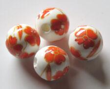 30pcs 10mm Round Porcelain/Ceramic Beads - White / Bright Orange & Gold Flowers