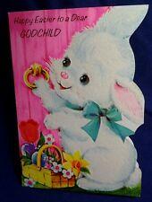 Flocked Easter God Child Card Bunny Wicker basket of flower  Vintage  Signed