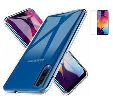 Funda Samsung Galaxy A50 A30S (6.4) TRANSPARENTE TPU GEL SILICONA +CRISTAL NEGRO