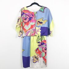 Suzi Chin for Maggy Boutique Floral Dress size 2 Multicolor Slit Short Sleeves