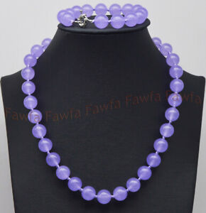 6/8/10/12mm Lavender Purple Jade Round Gemstone Beads Necklace Bracelet Set