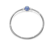 NinaQueen 925 Sterling Silver Bangle Bracelet with Blue Snap Clasp 7.5 Inches