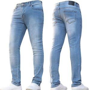 Mens Super Stretch Skinny Designer Basic Light Blue Jeans Pants All Size New
