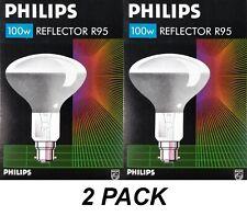 2 x Philips 100W Incandescent R95 Reflector Light Globes Bulbs Bayonet B22