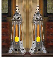 """2 black Amber orange Marrakesh Moroccan 22"""" tall Candle holder Lantern Lamp"""