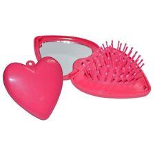 Heart Shape Compact brush Mirror Travel Folding Hair  Handbag Pocket Pink