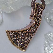 massive Franziska Axt Amulett fränkischer Axt Anhänger Bronze mit Lederschnur