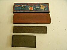 3 Vtg American Double Grit Emery Oil Stone Block Blade Sharpening Tool