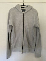 Mens Wings + Horns Wool Cotton Grey Hoodie Hooded Sweatshirt - Medium