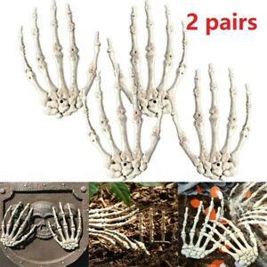 2 Pairs Halloween Skeleton Hands for Home Costume Decoration Haunted House Props