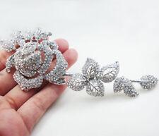Bride Elegant Clear Rose Flower Brooch Pin Bridesmaid Wedding Rhinestone Crystal