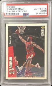 Dennis Rodman Signed 1996 Upper Deck #22 CC Bulls Card Sticker Auto HOF PSA/DNA