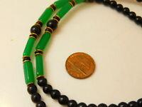 "Emerald Green Black Onyx Bead Strand 25"" Gold tone Necklace 10e 75"