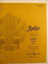 Leslie Model 760 Hammond instrucciones y servicio de información original
