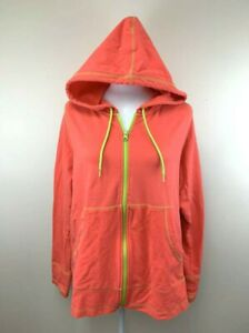 Zumba Wear XL Neon Orange Lime Green Instructor Front Zip Hoodie French Terry