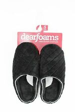 Dearfoams Black MicrofiberTerry Quilted Slip-on Slippers... size Small 5/6  NWT