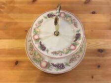 BOOTS ORCHARD TWO TIER CAKE HIGH TEA STAND PLATES - GOLD FINISH CENTRE & HANDLE