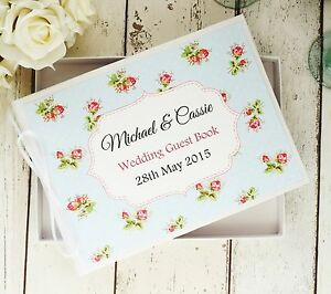 WEDDING GUEST BOOK PERSONALISED IN BOX ~ RED ROSES SHABBY CHIC VINTAGE KEEPSAKE