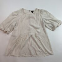 Ann Taylor Womens Lacy Puff Sleeve Blouse Ivory Pintuck Crew Neck Keyhole Top L