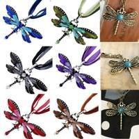 Lady Rhinestone Chain Charms Dragonfly  Pendant Necklace Enamel Sliver Plated