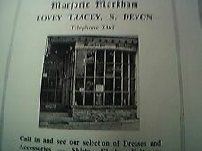 magazine item 1970 / 1971 - bovey tracey advert marjorie markham clothes shop