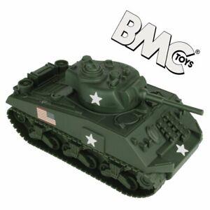 BMC WW2 Sherman M4 Tank - Dark Green 1:32 Military Vehicle for Plastic Army Men