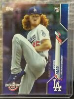 DUSTIN MAY L.A. DODGERS 2020 TOPPS OPENING DAY BLUE HOLOFOIL ROOKIE CARD SP HOT!
