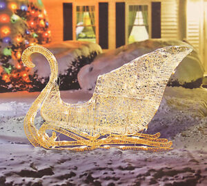Glittering Lighted Christmas Sleigh Outdoor Metal Yard Decoration Clear Lights
