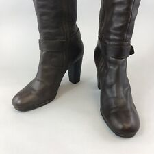 G-Star Raw Size 40 US9 UK7 Brown Leather Knee High Zip Up Heeled Booties Boots