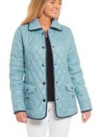Womens 18-24 Gorgeous Quilted Blue Jacket Lined Showerproof Poppers Coat Ladies