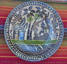 """Vintage Mexican Tonala Tlaquepaque petatillo 12"""" diam plate MIGUEL LUCANO RIVERA"""