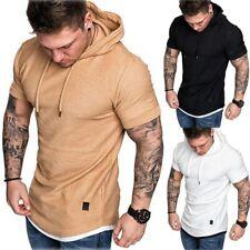 Para Hombre Entallado Camisas Mangas Cortas Prendas para el Torso Muscular Con Capucha Con Capucha Informal Básico Camiseta