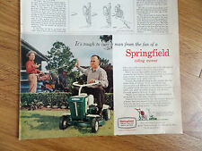 1960 Springfield Riding Lawn Mower Ad Tough to Lure A Man from Fun Fishing