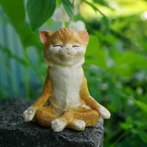 NEW! Cat Meditating Miniature Figurine Kitten Yoga Pose Home Studio Garden Gift