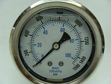 "PRO-201L-254N 2.5"" Glycerin Filled Stainless Steel Gauge 1/4"" NPT LM 0/1500 psi"