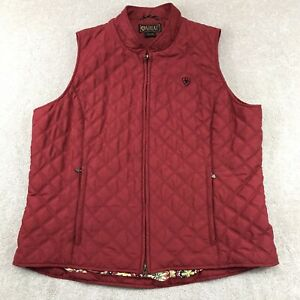 Ariat Red Quilted Zip Outdoor Vest Western Equestrian Style Women's Size XL